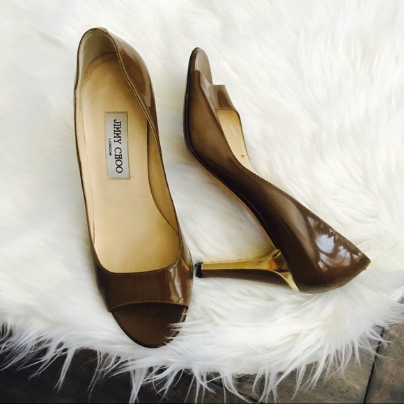 Jimmy Choo Shoes - {Jimmy Choi} Brown Patent Leather Heels size 39.5